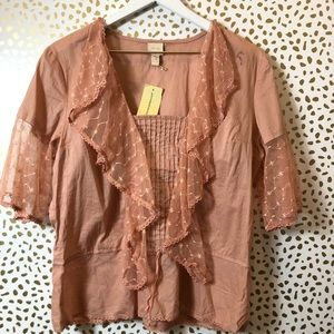 ANTHROPOLOGIE pink lace ruffle top SIZE 10